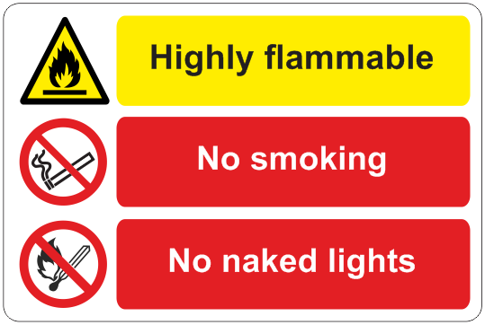 Highly Flammable/No Smoking sign