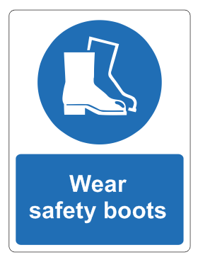 wear safety boots sign